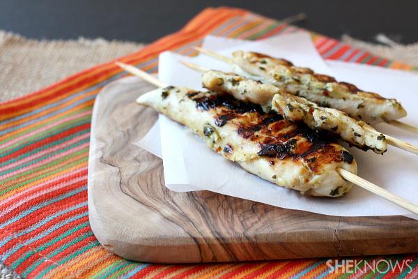 Spicy cilantro chicken skewer recipe