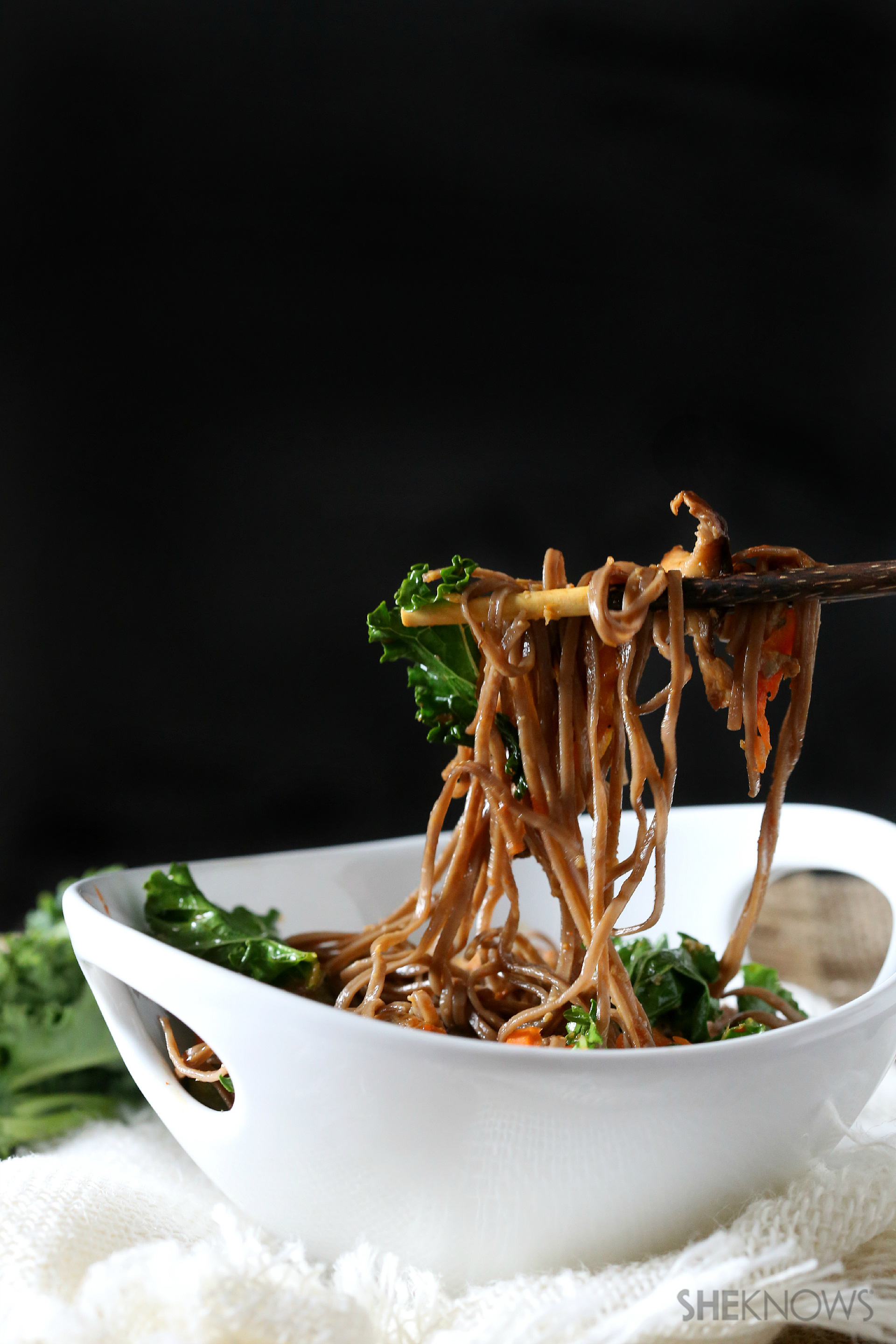 Spicy soba noodles with kale and shiitake mushrooms