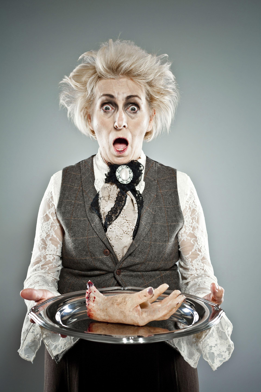 Spooky senior lady