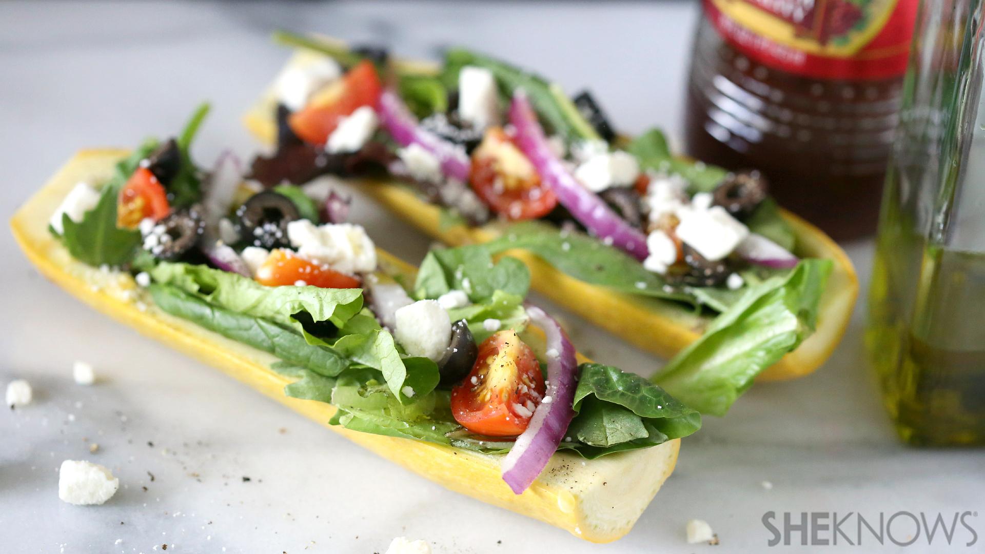 Squash stuffed with Greek feta salad