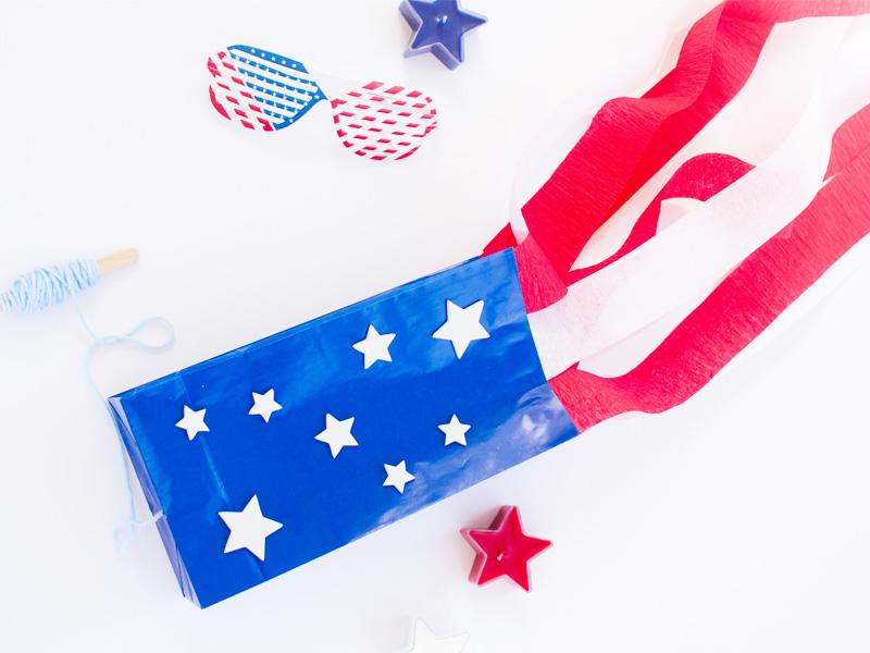 Stars & stripes paper bag kite