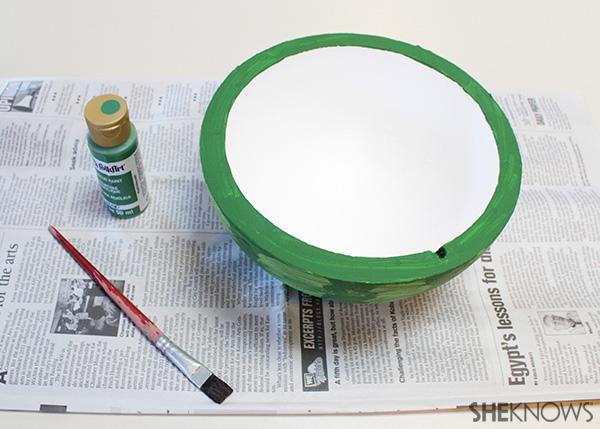 Mail a watermelon! Step 4 paint rim dark green