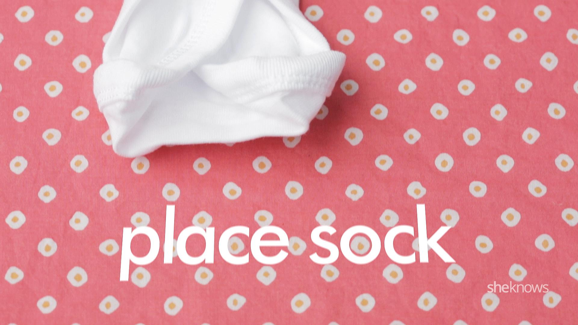 Onesie cupcakes Step 2: Place Sock