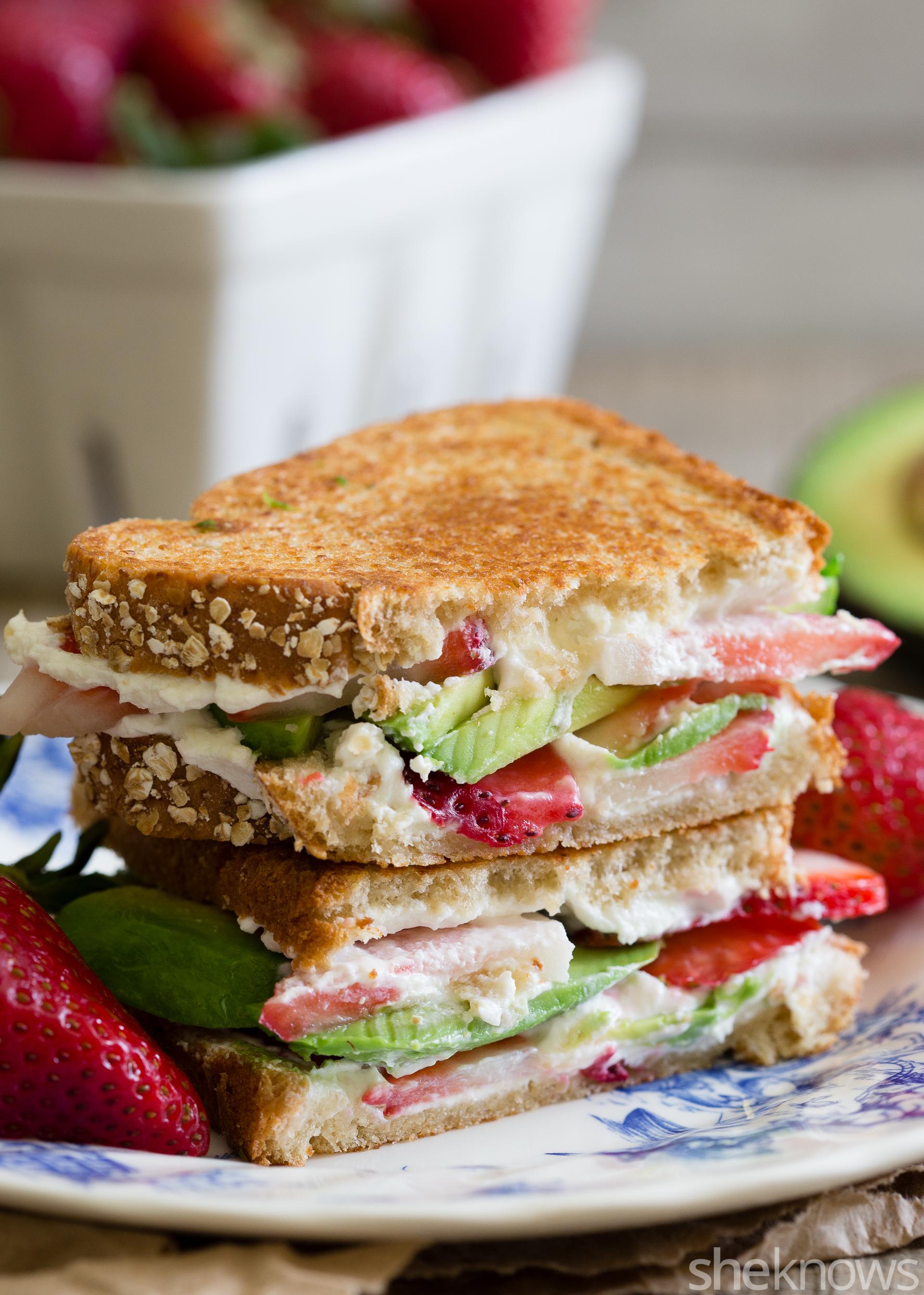 Strawberry avocado goat cheese panini