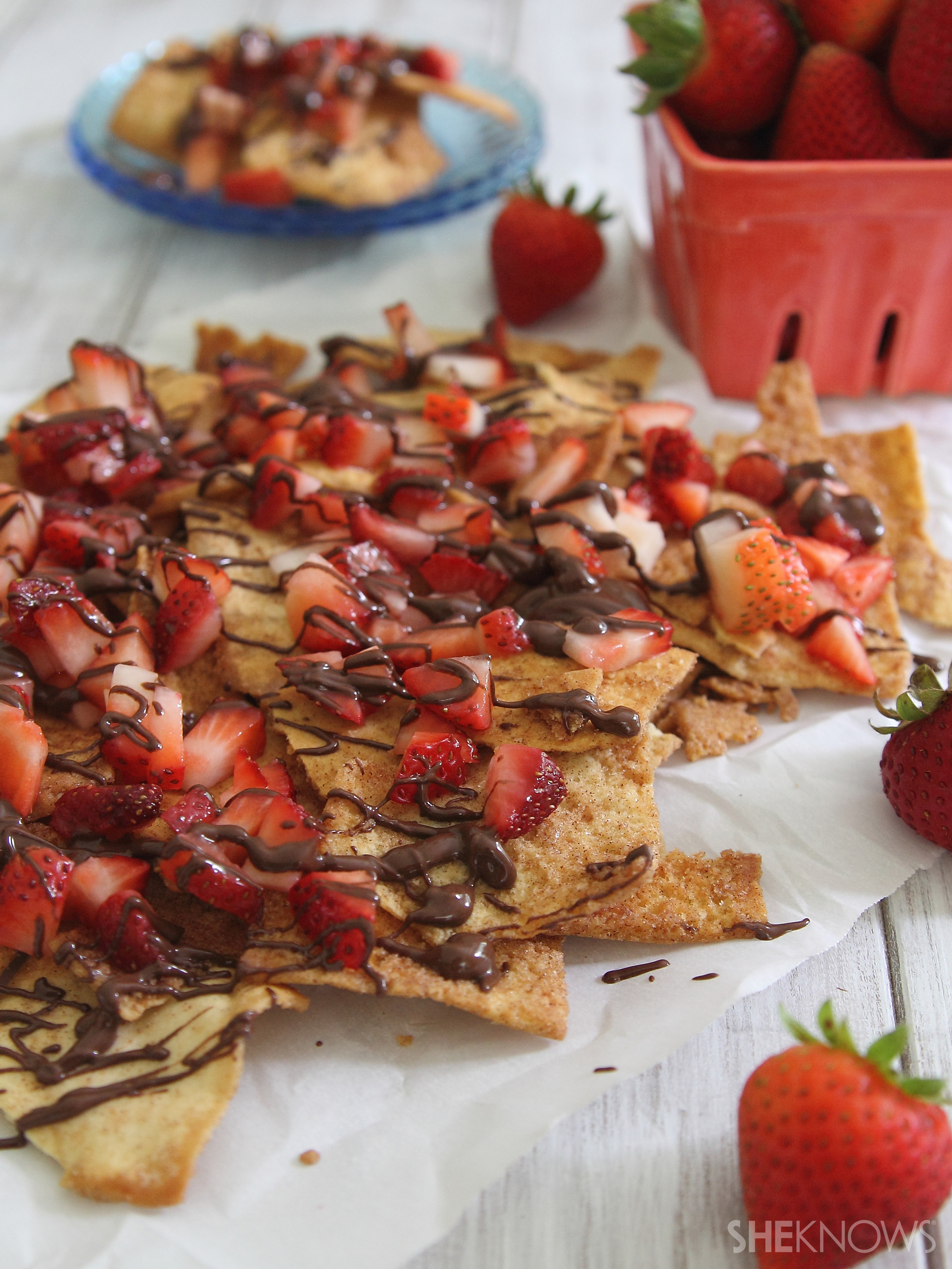 Strawberry chocolate pita nachos