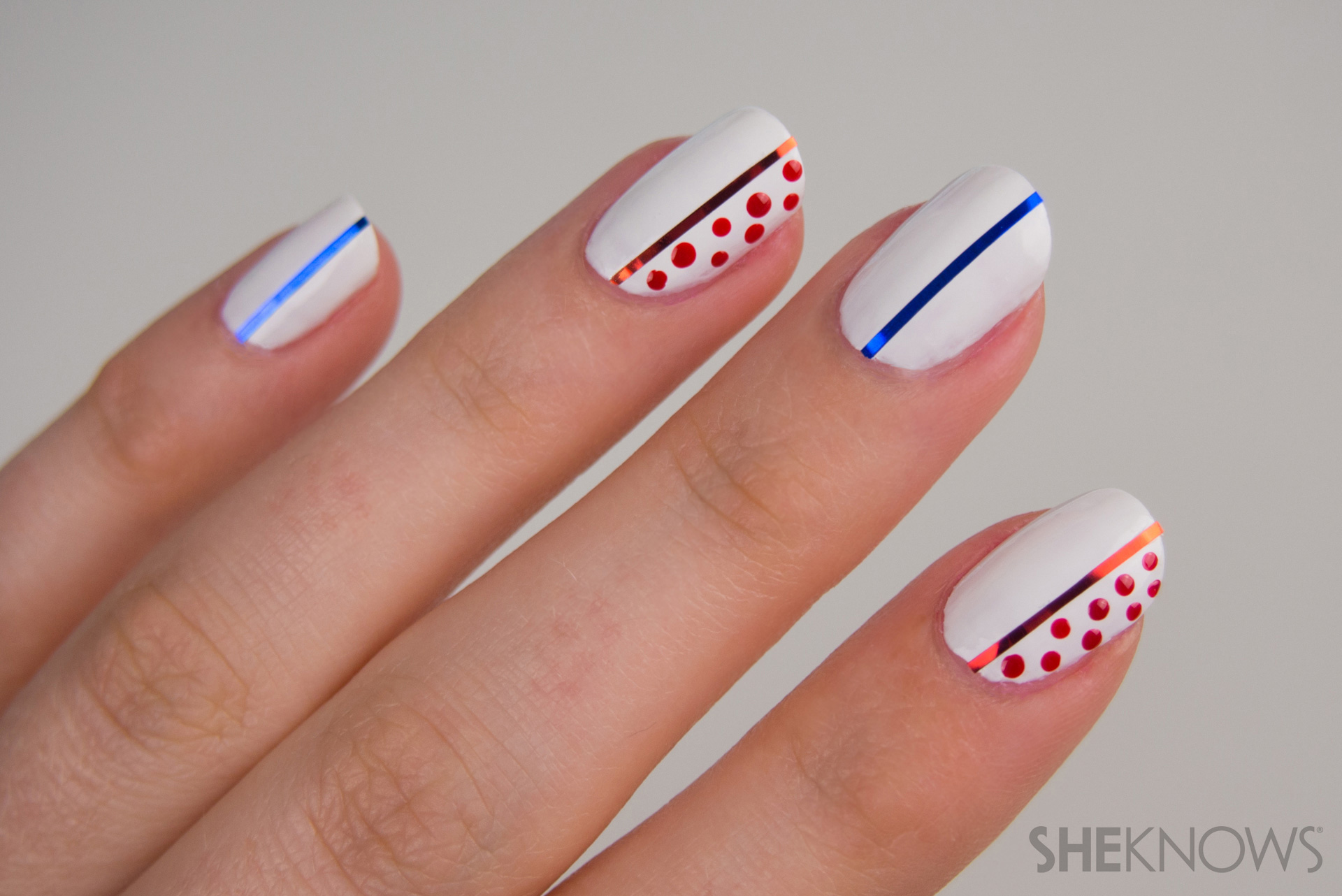 Striped and Dotted manicure