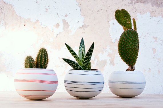 Best Planters on Etsy | Striped Planter