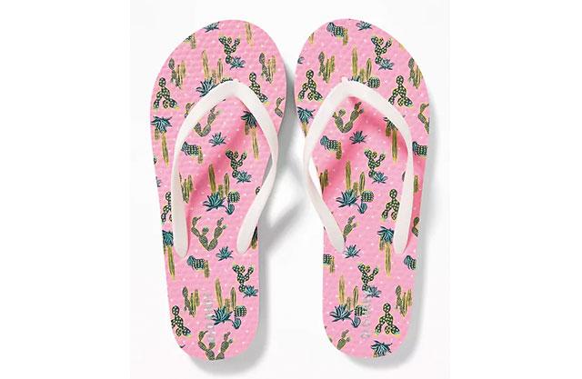 Pink flip-flops printed with various cacti