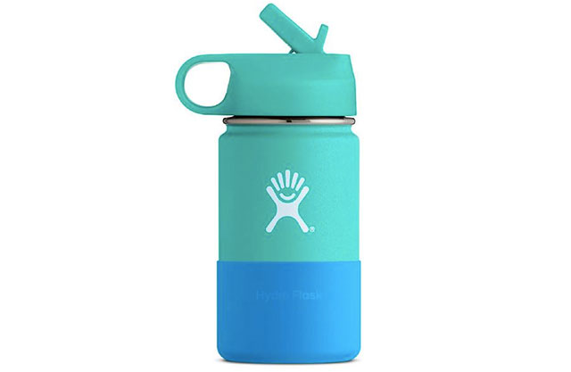 Hydro Flask kids' water bottle with straw in mint and blue