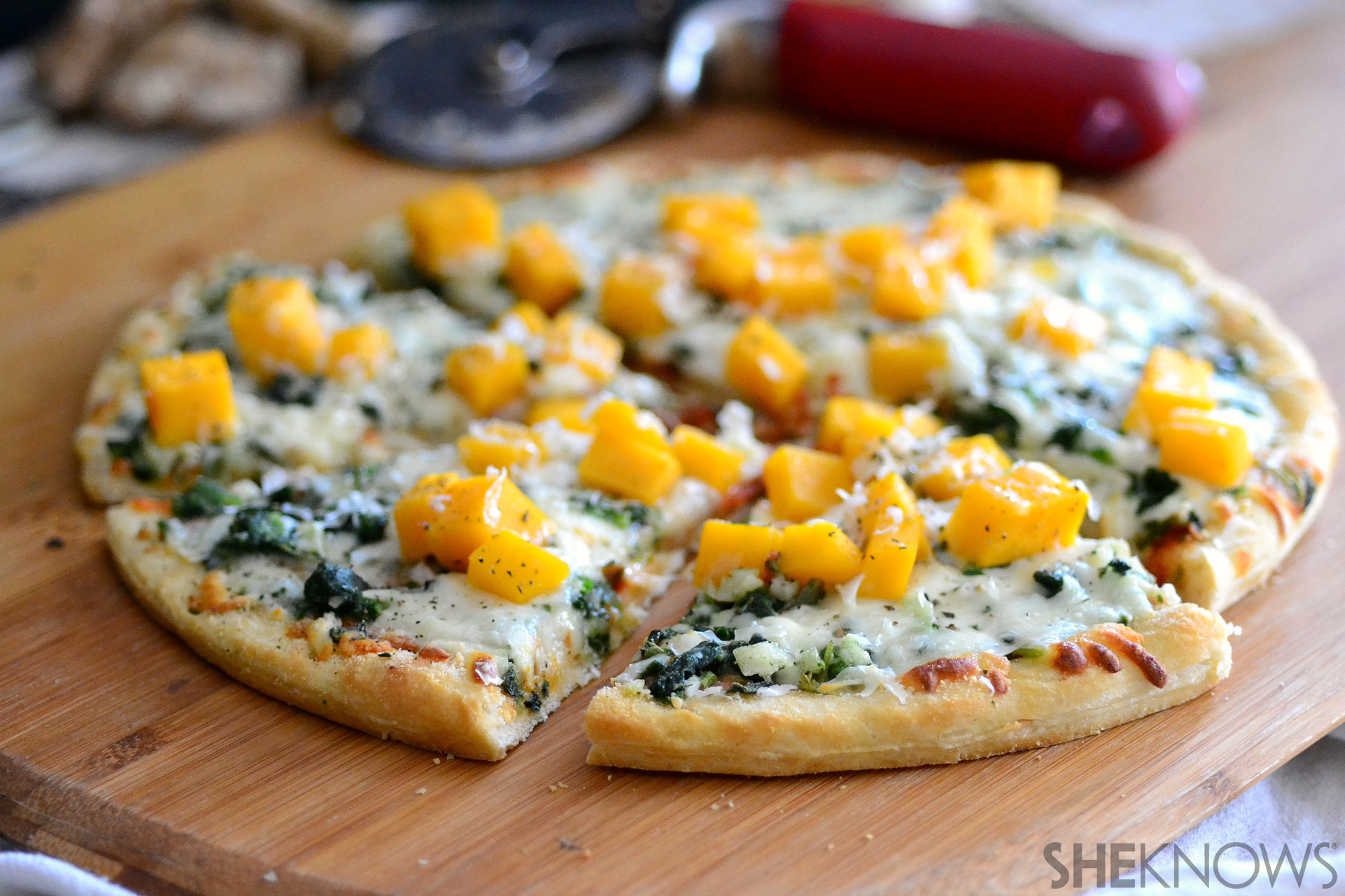 Sunchoke and butternut squash pizza