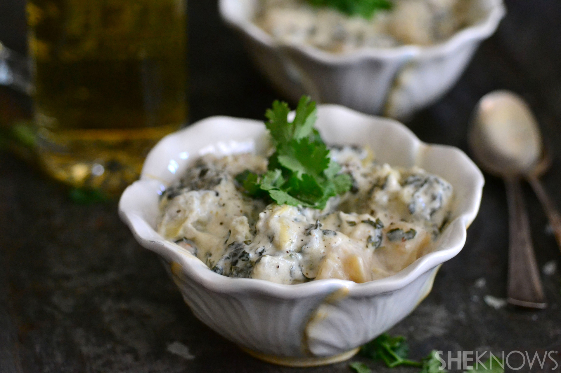 Sunchoke and spinach baked potato soup