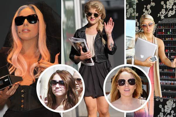 Celebrities wearing sunglasses