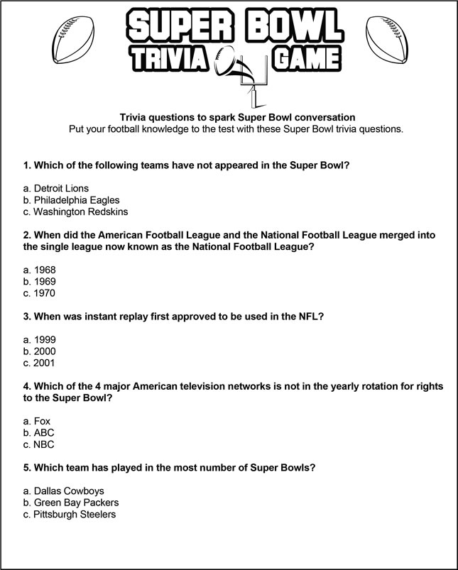 graphic about Printable Trivia Question and Answers named Tremendous Bowl trivia recreation SheKnows