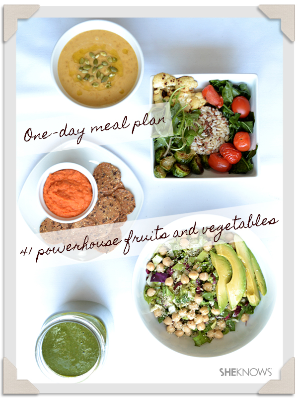 one day meal plan with the 41 healthiest fruits and veggies sheknows