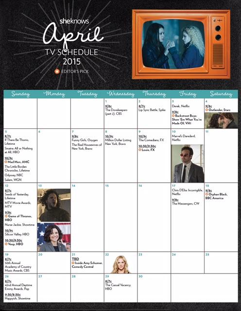 April 2015 TV premiere calendar