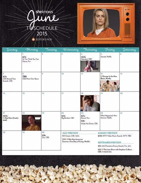 June 105 TV premiere calendar