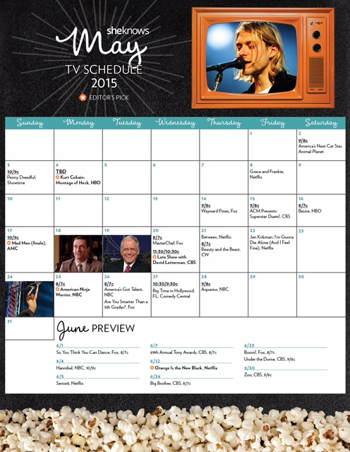 May 2015 TV premiere calendar