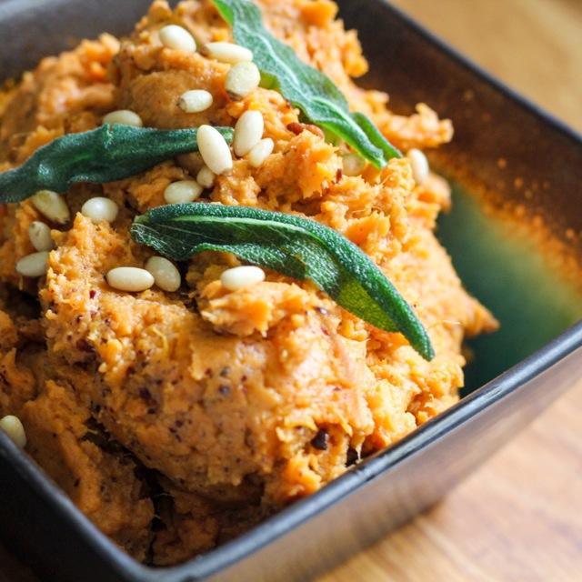 tahini mashed sweet potatoes with fried sage leaves