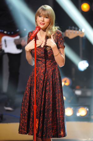 Taylor Swift with red microphone