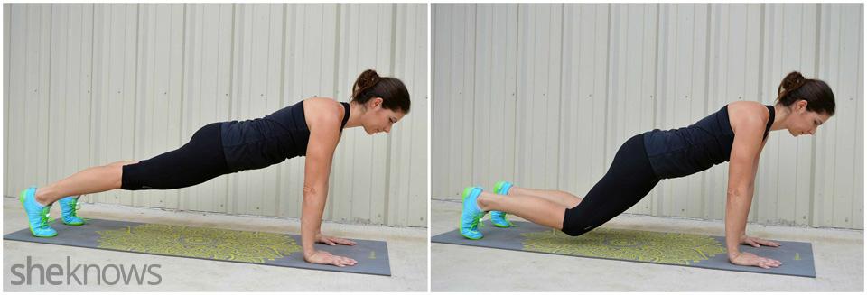 Teaser knees plank exercise