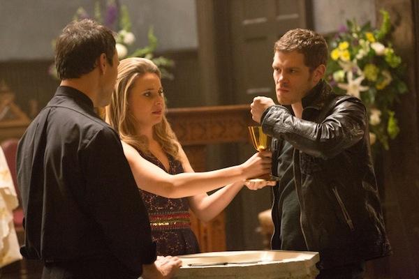 Klaus, Cami and Father Kieran on The Originals