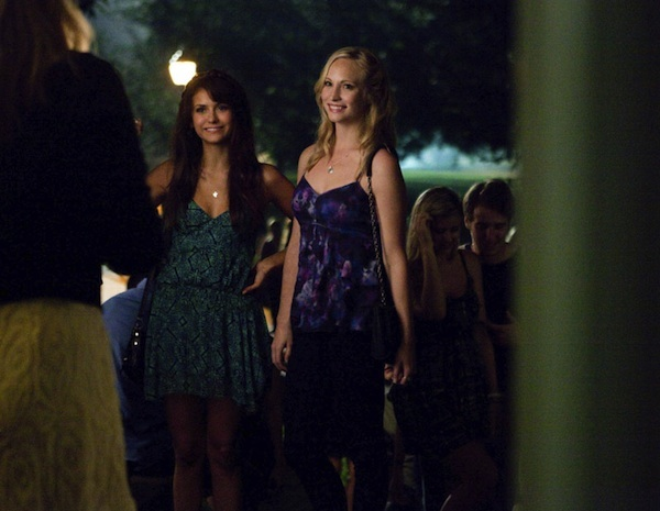 Caroline and Elena party in The Vampire Diaries