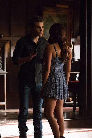 Stefan and Elena talk in The Vampire Diaries
