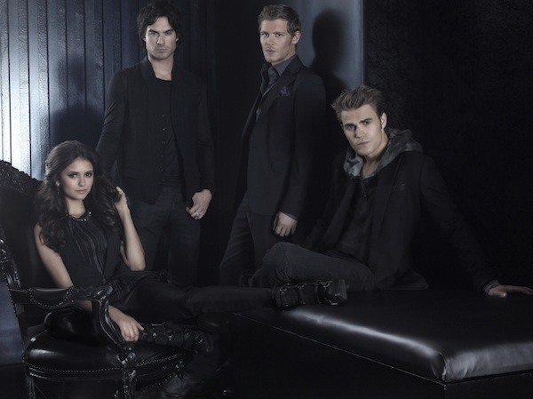 Stefan, Damon, Elena and Klaus in The Vampire Diaries