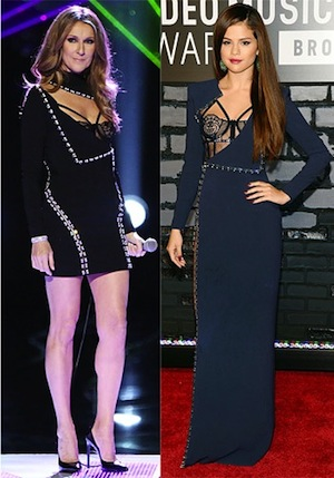 Celine Dion and Selena Gomez wear a similar Versace dress