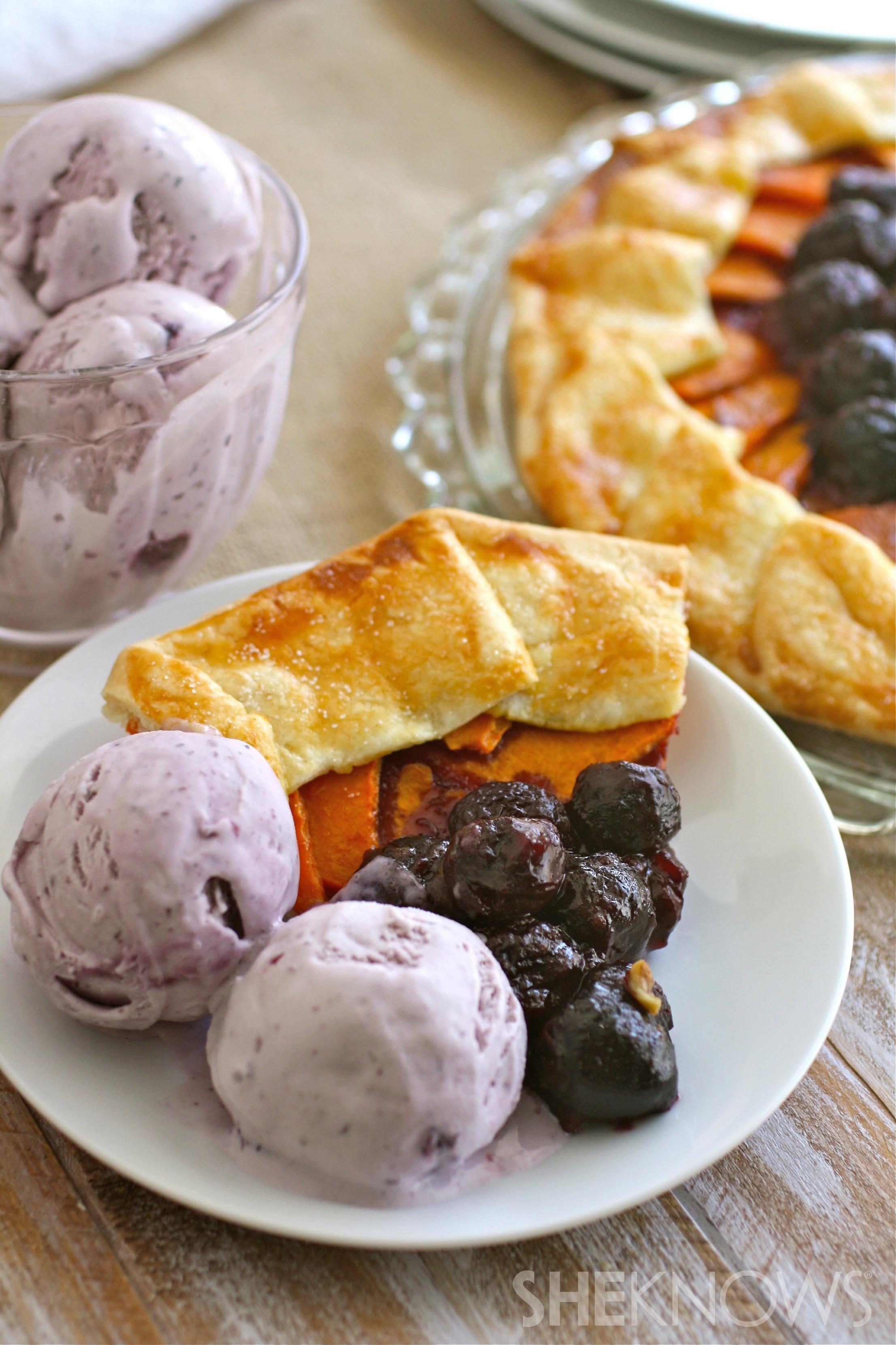 Sweet potato cherry galette
