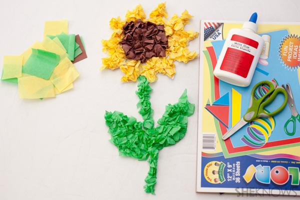 Tissue paper sunflower craft