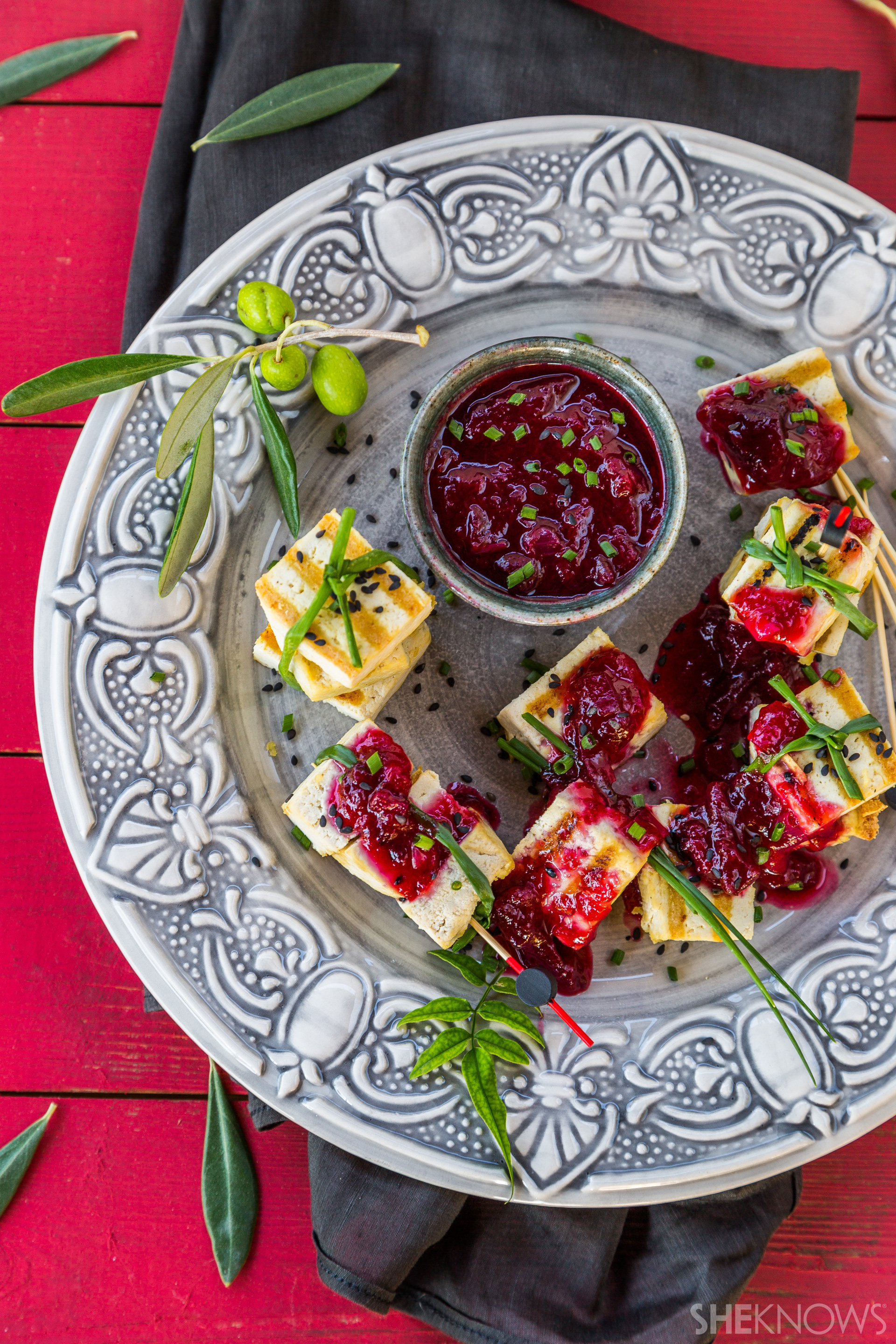 Vegan grilled tofu with homemade plum sauce is a delight