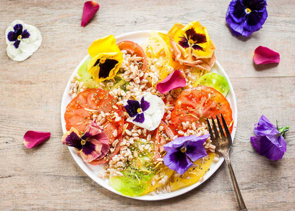 tomato and farro salad with flowers