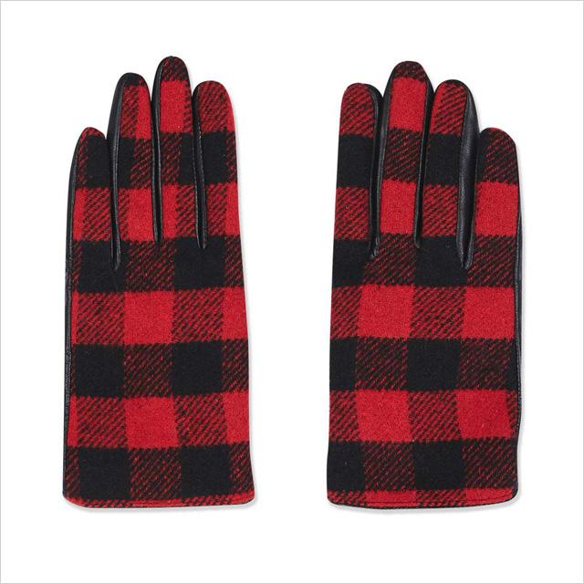 Topshop Check Leather Gloves