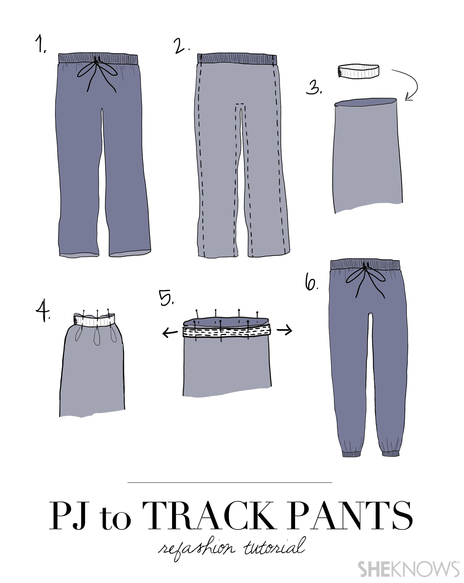 How to turn old pajama pants into couture track pants
