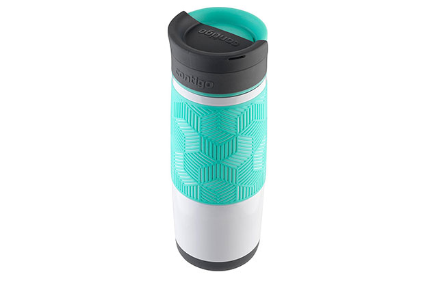 Travel mug in white and teal