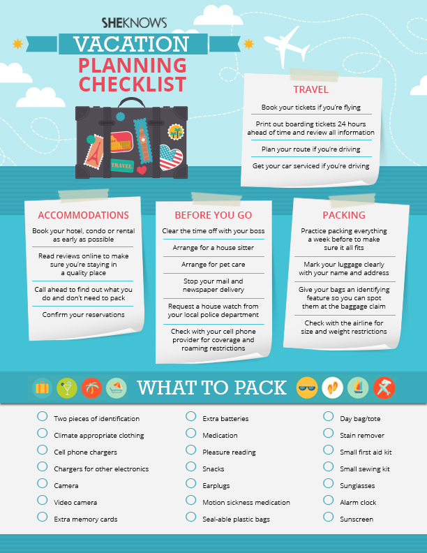 Vacation planning checklist | Sheknows.com