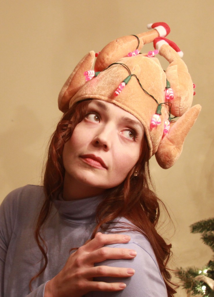 Woman with a Turkey on her head