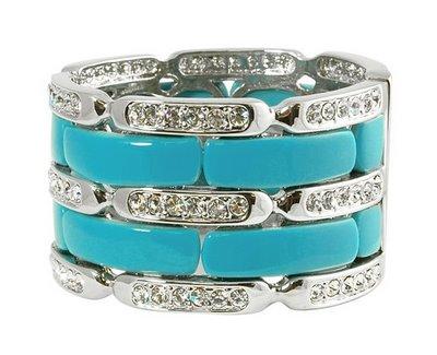 Turqoise and rhinestone cuff bridal bracelet