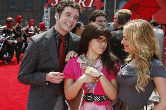 Michael Yuri, America Ferrera and Ashley Jensen get ready to ride