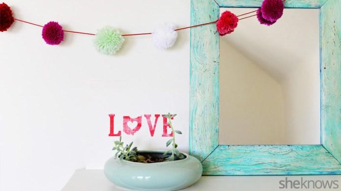Valentine's Day pom-pom garland you can