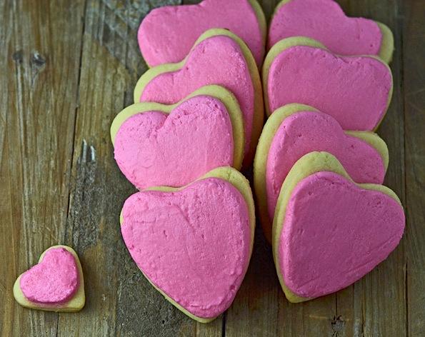 Gluten-free soft frosted valentine sugar cookies