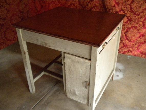 Vintage college desk repurposed to kitchen island