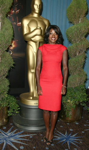 Viola Davis smiles for SheKnows at the Oscar luncheon