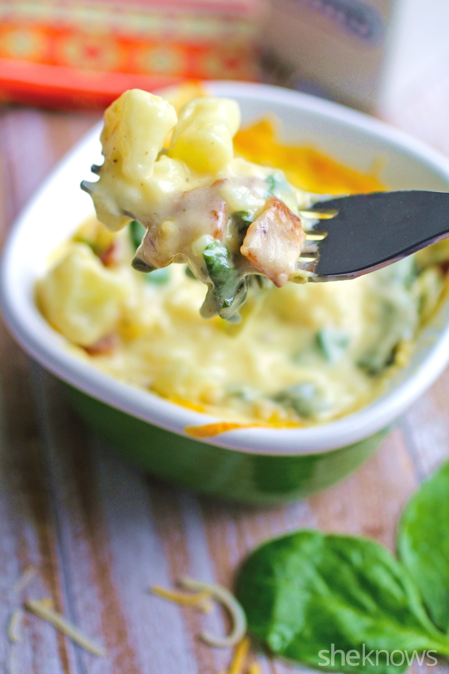 "Dig in to cauliflower ""mac"" and cheese with spinach and bacon"