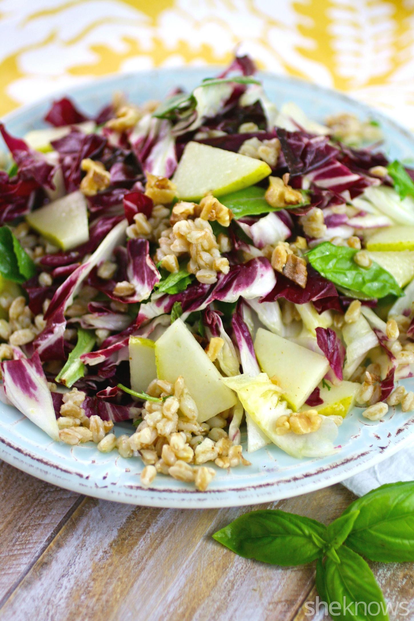 Focus on a farro, radicchio, and pear salad with lemon-basil vinaigrette