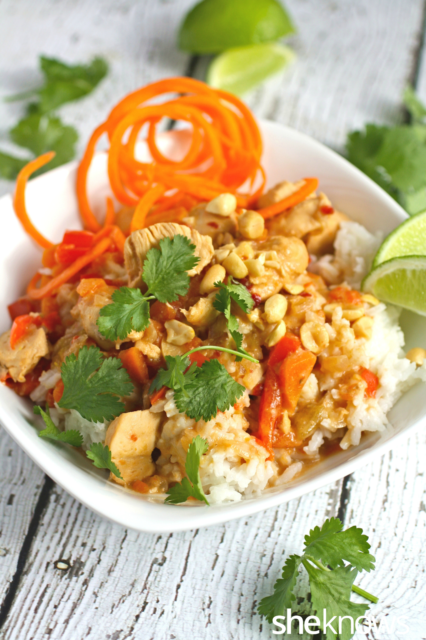 Serve this Slow cooker Sunday special: Peanutty Thai chicken with white rice