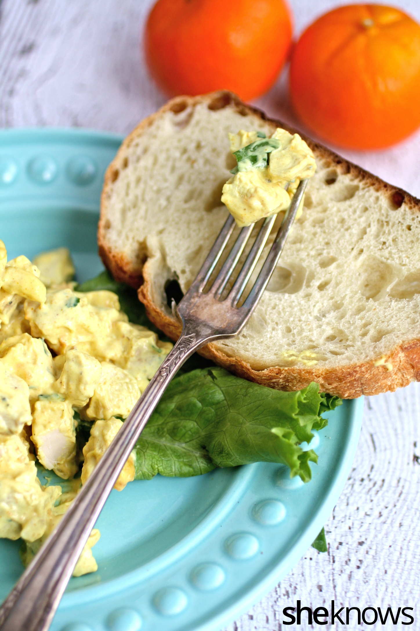 Serve this special dish: coronation chicken salad with toasted almonds