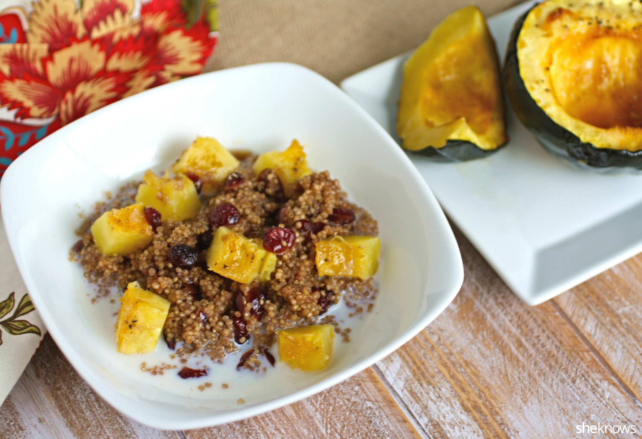 Be sure to enjoy a breakfast like creamy quinoa cinnamon and acorn squash breakfast bowl