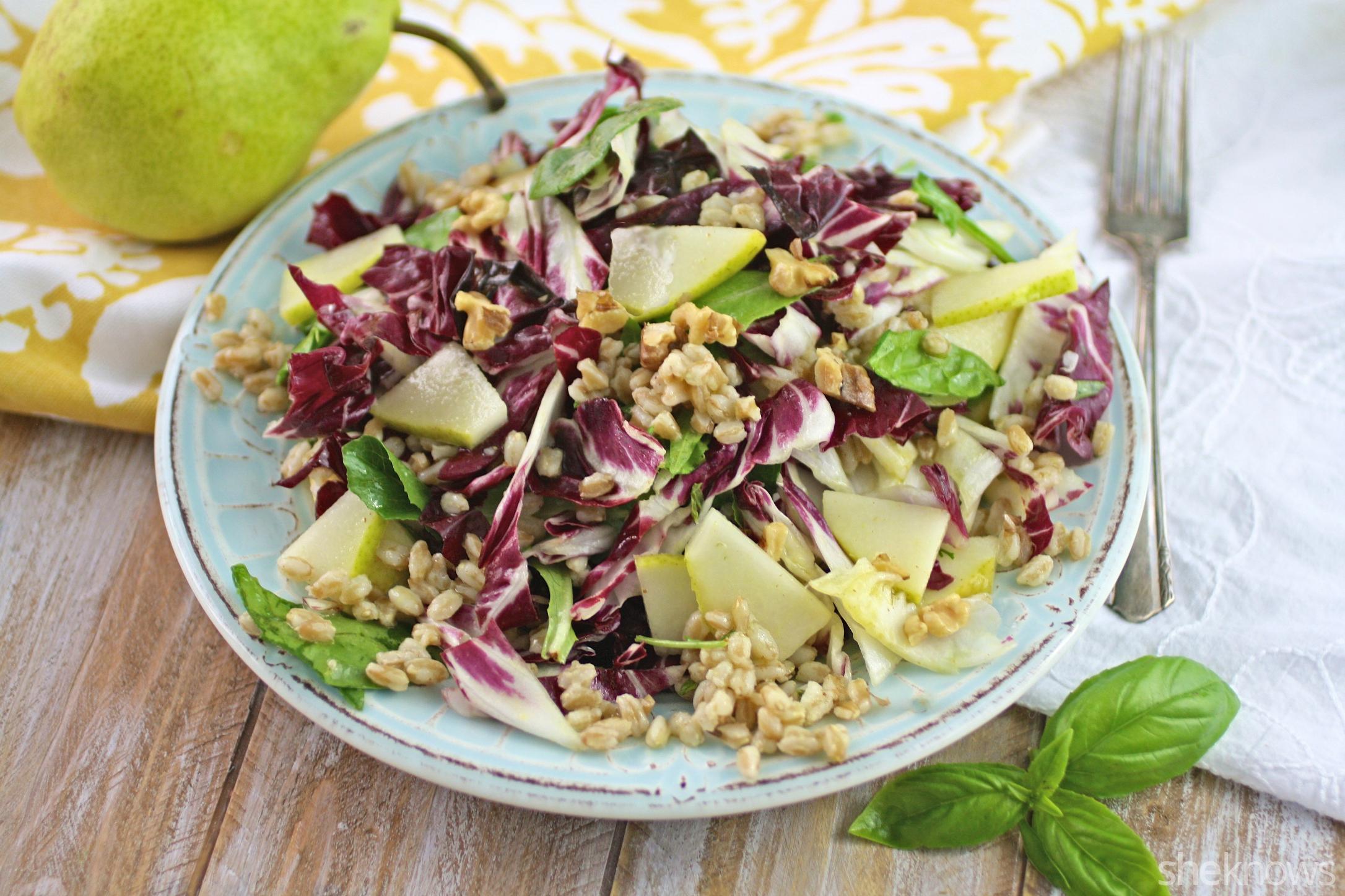 Take a seat for this farro, radicchio, and pear salad with lemon-basil vinaigrette